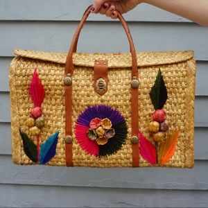 🌺 Vintage Mexican Straw Bag 🌺